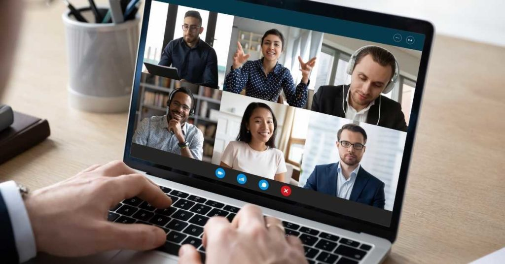 happy small online meeting